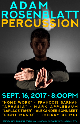 """Fall '17ROSENBLATT"" Adam Rosenblatt concert poster Clark Hubbard, 2017"