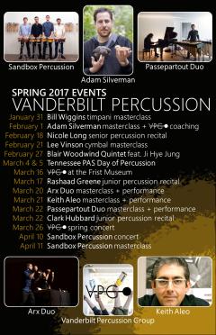 """Spring '17VPG EVENTS"" Vanderbilt Percussion events poster Clark Hubbard, 2017"