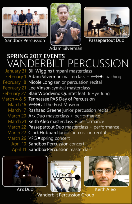 """Spring '17 VPG EVENTS"" Vanderbilt Percussion events poster Clark Hubbard, 2017"