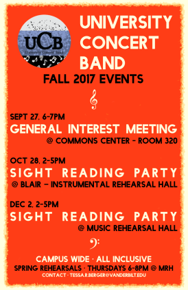 """Fall '17 UCB"" University Concert Band poster Clark Hubbard, 2017"