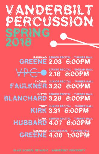 """""""Spring '18 VPG-S RED"""" VPG Studio Events Spring 2018 Clark Hubbard, 2018"""