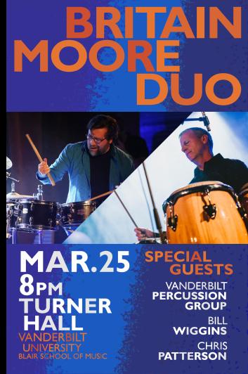 """BMD 0325 2019 BLUE"" Britain Moore Duo 2019 0325 concert poster Clark Hubbard, 2019"