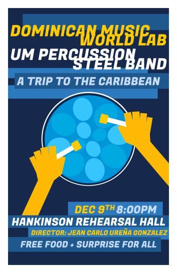 """""""UM World '19 PAN"""" World Music concert poster Clark Hubbard, 2019"""